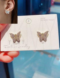 Fashion Platinum Plated Butterfly Micro-inlaid Zircon Gold-plated Copper Earrings