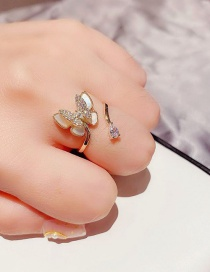 Fashion Real Gold Color Plated Full Diamond And Micro Inlaid Zircon Natural Shell Double Butterfly Open Ring