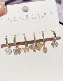 Fashion Real Gold Color Plated Micro-inlaid Zircon Pearl Flower Butterfly Earring Set