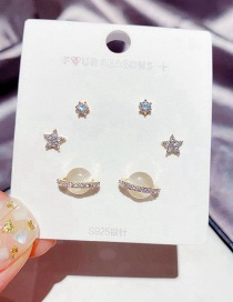 Fashion Gold Coloren Micro Inlaid Zircon Star Opal Saturn Earring Set