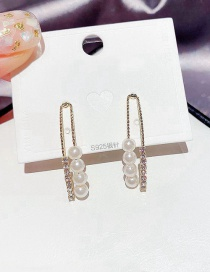 Fashion Real Gold Color Plated Diamond And Geometric Pearl Earrings
