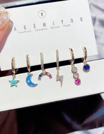 Fashion Real Gold Color Plated Drop You Xingyue Rainbow Lightning Zircon Plated Real Gold Earring Set