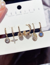 Fashion Real Gold Color Plated Micro-inlaid Zircon Star And Moon Small Tag Small Waist Earring Set