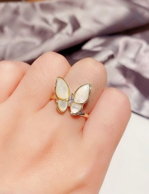 Fashion Real Gold Color Plated Zircon Opal Butterfly Open Ring