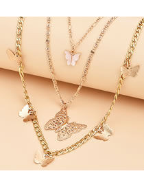 Fashion Gold Coloren Butterfly Resin Alloy Multilayer Necklace