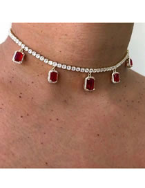 Fashion Red Rectangle Alloy Necklace With Diamonds