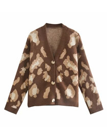 Fashion Brown Loose Leopard Jacquard Knitted Cardigan Sweater
