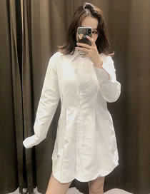 Fashion White Pure Cotton Long-sleeved Shirt With Waist
