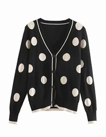 Fashion Black Dot Jacquard Knit V-neck Cardigan
