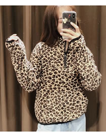Fashion Khaki Leopard Leopard Print Zipper Short Pullover Sweater