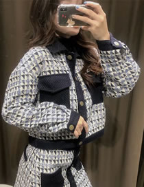 Fashion Blue Woollen Diamond Contrast Jacket Top