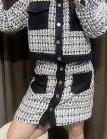 Fashion Blue Woollen Diamond Contrast Jacket Skirt