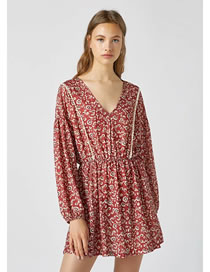 Fashion Red Print Long Sleeve Printed V-neck Loose Dress