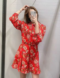 Fashion Red Floral Flower Print Tie Long Sleeve Dress