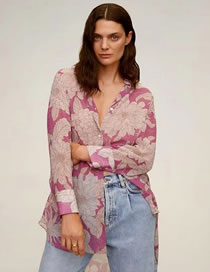 Fashion Red Floral Flower Print Long Sleeve Loose Shirt