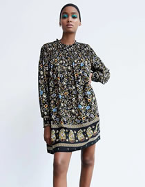 Fashion Black Floral Printed Long Sleeve Loose Dress