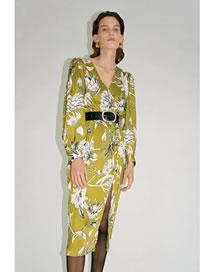 Fashion Green Printed V-neck Dress With Belt