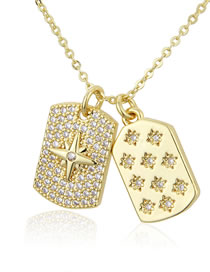 Fashion Gilded Full Diamond Star Glossy Snowflake Tag Necklace