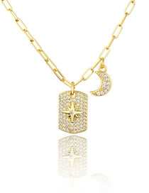 Fashion Gilded Full Diamond Star Moon Tag Necklace
