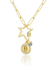 Fashion Gilded Five-pointed Star Turnbuckle Virgins Eye Tag Necklace