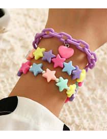 Fashion Color Mixing Resin Five-pointed Star Contrasting Pearl Multi-layer Bracelet