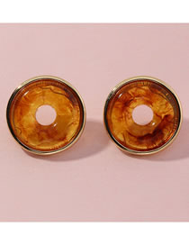 Fashion Coffee Color Geometric Round Amber Resin Earrings