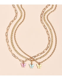 Fashion Color Mixing Butterfly Resin Alloy Necklace Set
