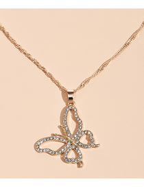 Fashion Gold Color Color Full Diamond Butterfly Alloy Hollow Necklace