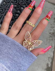 Fashion Gold Color Color Diamond Butterfly Alloy Hollow Ring