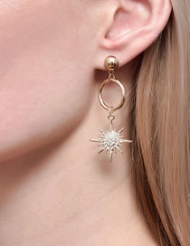 Fashion Gold Color Color Moon Star Diamond Alloy Hollow Earrings