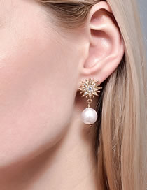 Fashion Gold Color Color Pearl And Diamond Moon Star Alloy Earrings
