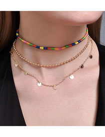 Fashion Gold Color Color Round Piece Round Bead Chain Alloy Multilayer Necklace