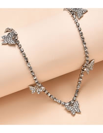 Fashion Silver Color Color Butterfly And Diamond Alloy Necklace