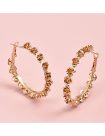 Fashion Gold Color Color Rose Alloy Round Earrings