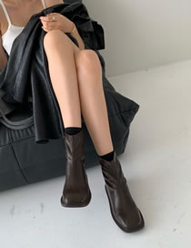 Fashion Dark Brown Block Heel Square Toe Stretch Ankle Boots