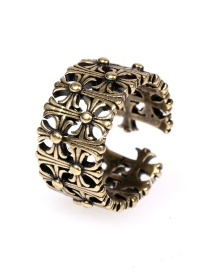 Fashion Bronze Openwork Cross Gold-plated Copper Open Ring