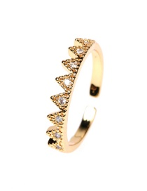 Fashion Triangle Diamond And Gold-plated Copper Open Ring