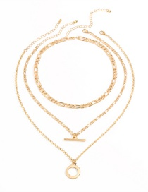 Fashion Gold Color Ot Buckle Alloy Circle Multilayer Necklace