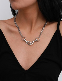Fashion White K Buckle Alloy Necklace
