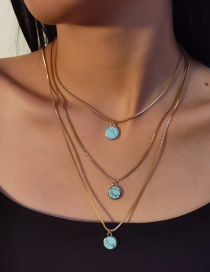Fashion Gold Color Turquoise Round Alloy Multilayer Necklace