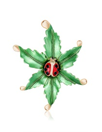 Fashion Color Dripping Oil Ladybug Flower Alloy Brooch