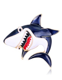 Fashion Color Dripping Shark Alloy Brooch