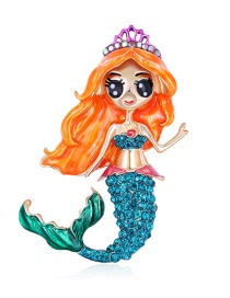 Fashion Color Mermaid Alloy Brooch With Dripping Diamonds