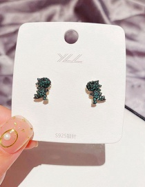 Fashion Real Gold Plated Small Dinosaur Micro-inlaid Zircon Copper Gold-plated Earrings