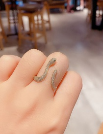 Fashion Real Gold Plated Micro-set Zircon Snake-shaped Open Ring