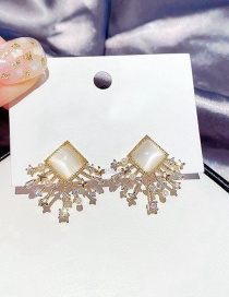 Fashion Real Gold Plated Square Opal Rice Beads Zircon Earrings