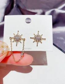 Fashion Real Gold Plated Asymmetrical Eight-pointed Star Zircon Micro-set Earrings