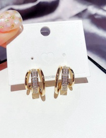 Fashion Real Gold Plated C-shaped Geometric Copper Inlaid Zircon Multilayer Earrings