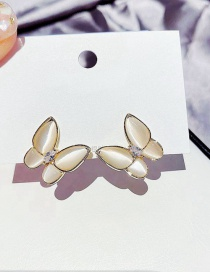 Fashion Real Gold Plated Butterfly And Zirconium Opal Earrings