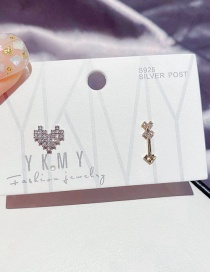 Fashion Real Gold Plated Real Platinum Cupids Arrow Heart Asymmetric Micro Zircon Earrings